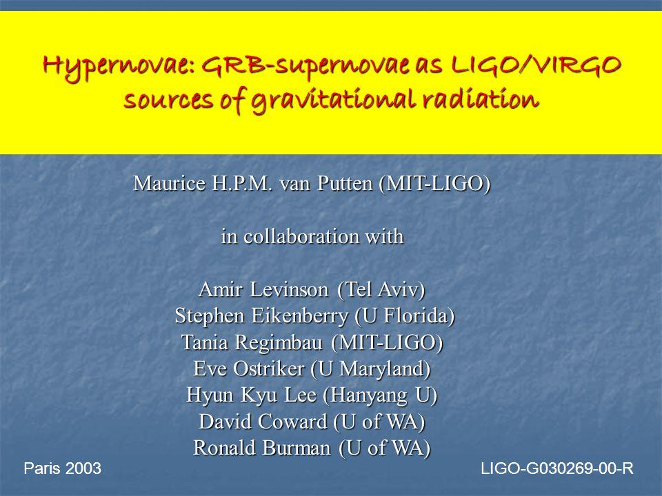 Hypernovae: GRB-supernovae as LIGO/VIRGO sources of gravitational radiation Maurice H.P.M.