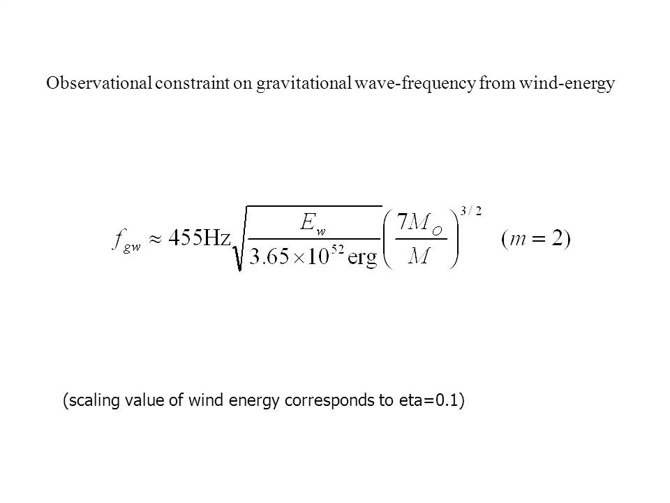 Observational constraint on gravitational wave-frequency from wind-energy (scaling value of wind energy corresponds to eta=0.1)