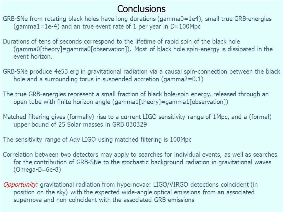 Conclusions GRB-SNe from rotating black holes have long durations (gamma0=1e4), small true GRB-energies (gamma1=1e-4) and an true event rate of 1 per