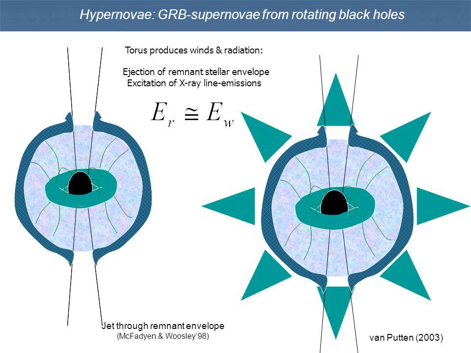 Hypernovae: GRB-supernovae from rotating black holes Jet through remnant envelope (McFadyen & Woosley'98) Torus produces winds & radiation: Ejection o