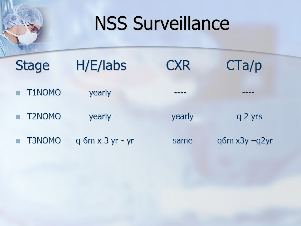 NSS Surveillance StageH/E/labsCXRCTa/p T1NOMO yearly ---- ---- T1NOMO yearly ---- ---- T2NOMO yearly yearly q 2 yrs T2NOMO yearly yearly q 2 yrs T3NOMOq 6m x 3 yr - yr same q6m x3y –q2yr T3NOMOq 6m x 3 yr - yr same q6m x3y –q2yr