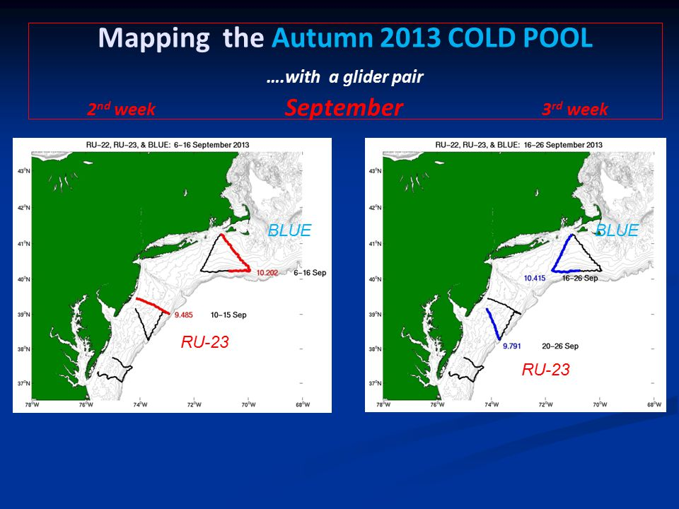 Mapping the Autumn 2013 COLD POOL ….with a glider pair 2 nd week September 3 rd week BLUE RU-23