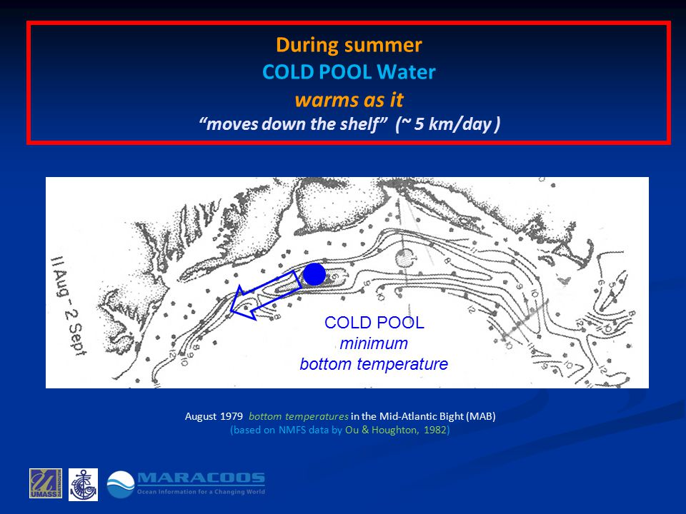 During summer COLD POOL Water warms as it moves down the shelf (~ 5 km/day ) August 1979 bottom temperatures in the Mid-Atlantic Bight (MAB) (based on NMFS data by Ou & Houghton, 1982) COLD POOL minimum bottom temperature
