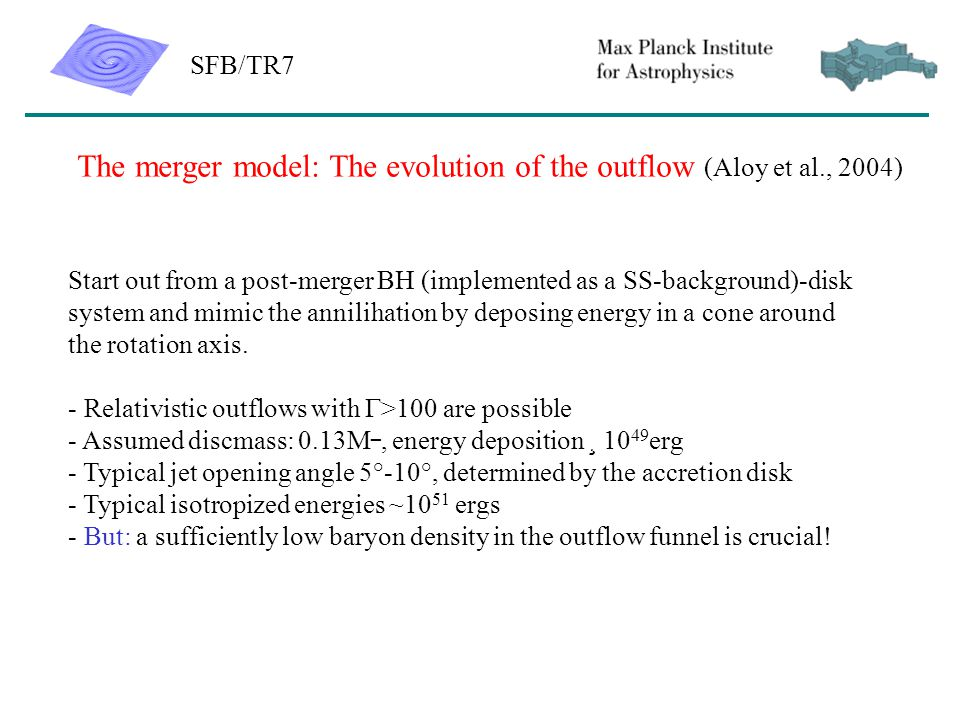 SFB/TR7 The merger model: The evolution of the outflow (Aloy et al., 2004) Start out from a post-merger BH (implemented as a SS-background)-disk system and mimic the annilihation by deposing energy in a cone around the rotation axis.