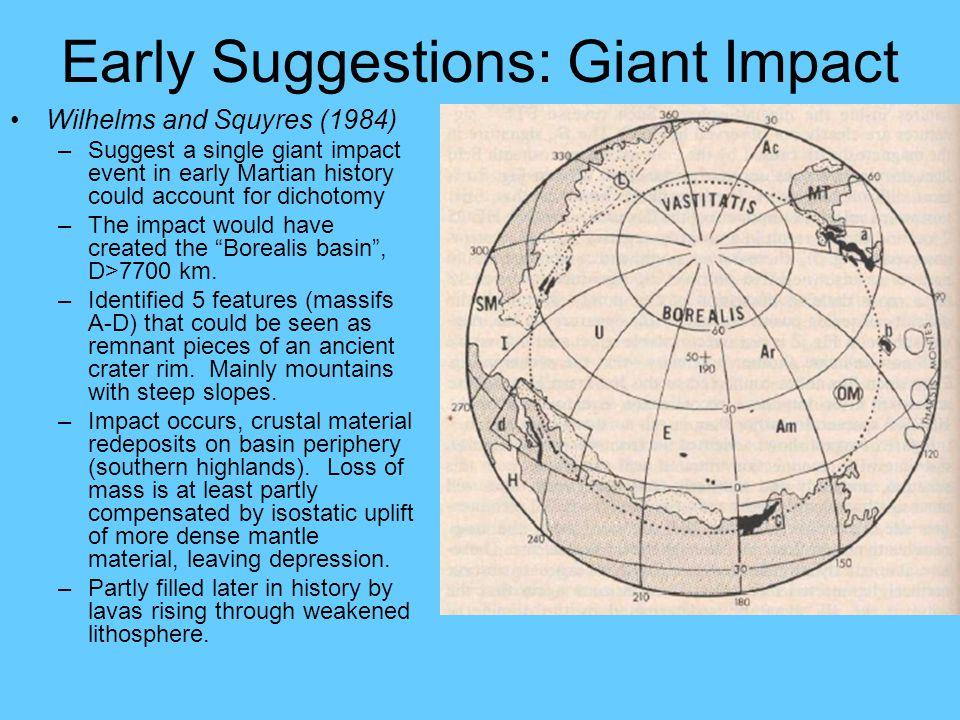 Multiple Impacts Identified Utopia Impact Basin (McGill, 1989) Chryse Impact Basin (Schultz et al, 1982) Elysium Basin (Schultz, 1984) Borealis Impact Basin (Wilhelm & Squyres, 1984) Isidis Impact Basin (Tanaka, 1986) Tharsis Basin (Schultz & Glicken, 1979) North Polar Basin