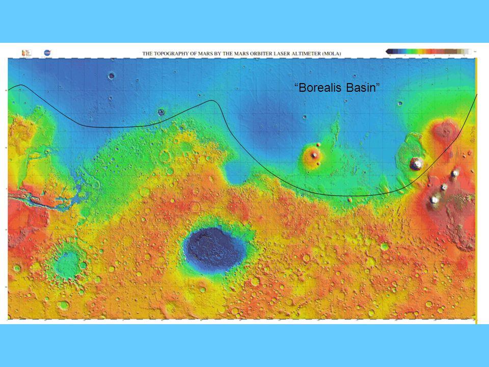 Proposed Borealis impact basin overlaid on MOLA map.