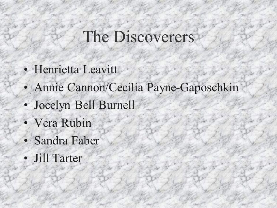 The Discoverers Henrietta Leavitt Annie Cannon/Cecilia Payne-Gaposchkin Jocelyn Bell Burnell Vera Rubin Sandra Faber Jill Tarter