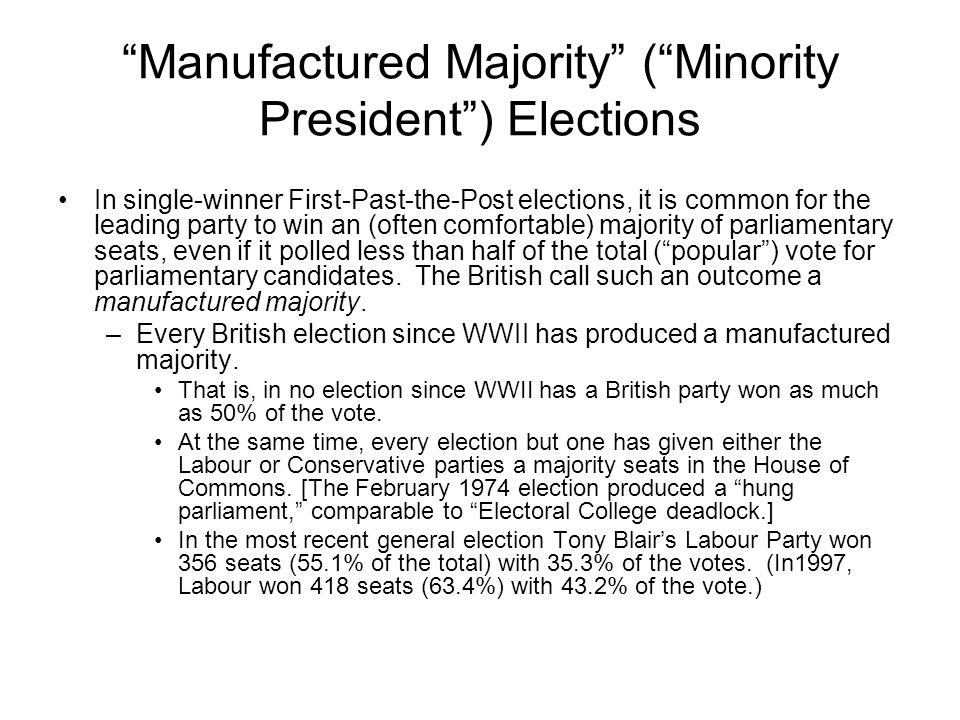 """""""Manufactured Majority"""" (""""Minority President"""") Elections In single-winner First-Past-the-Post elections, it is common for the leading party to win an"""