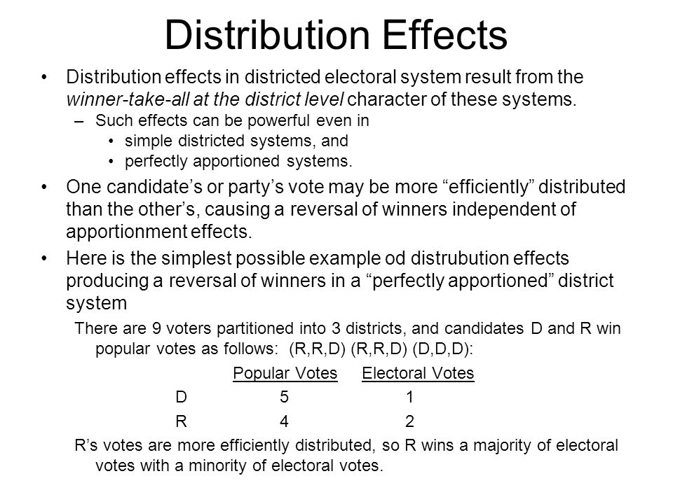 Distribution Effects Distribution effects in districted electoral system result from the winner-take-all at the district level character of these syst