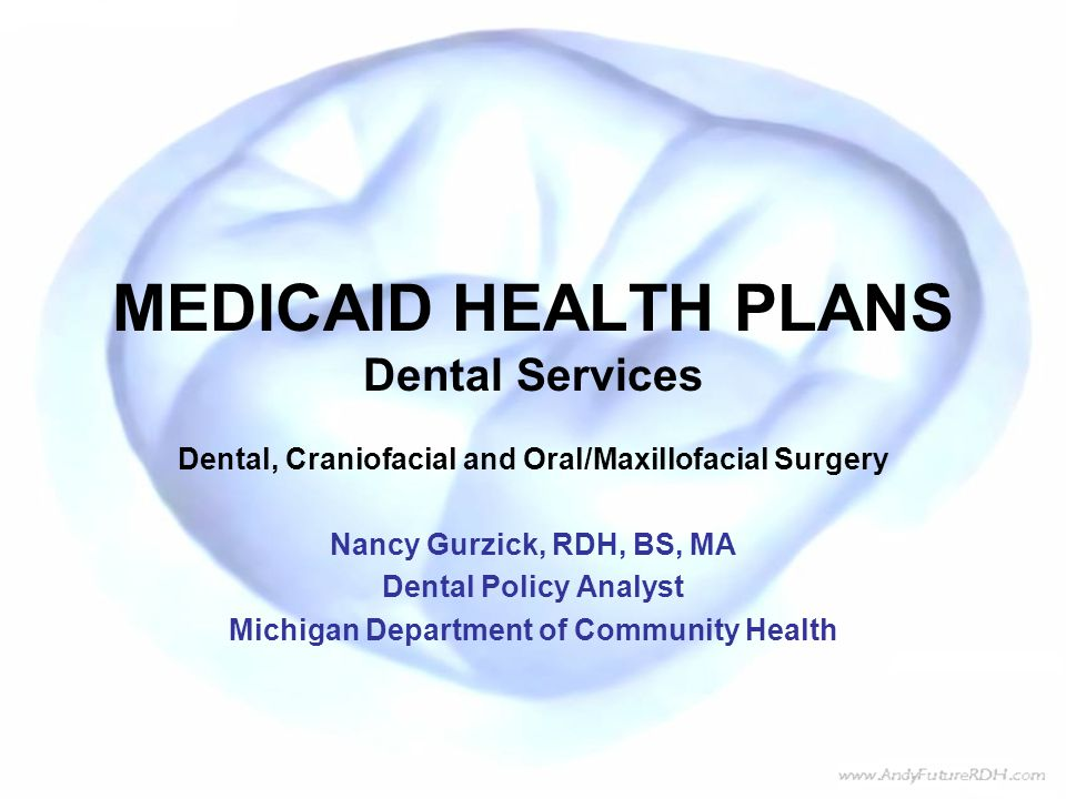 MEDICAID HEALTH PLANS Dental Services Dental, Craniofacial and Oral/Maxillofacial Surgery Nancy Gurzick, RDH, BS, MA Dental Policy Analyst Michigan Department of Community Health