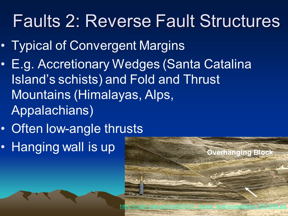 Faults 2: Reverse Fault Structures Typical of Convergent Margins E.g.