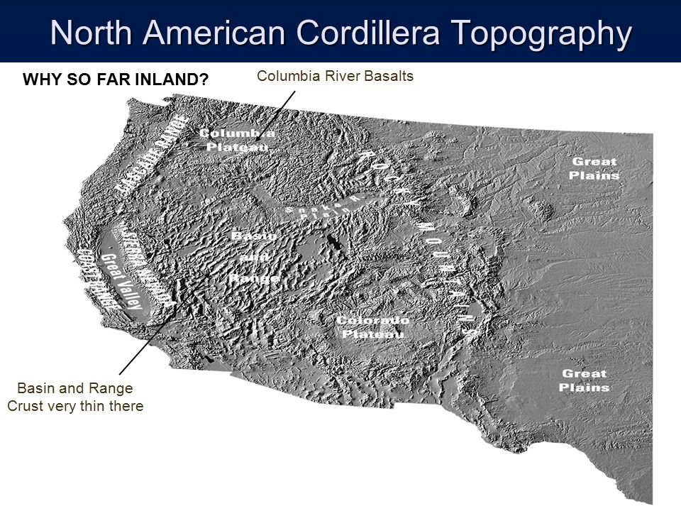 North American Cordillera Topography Basin and Range Crust very thin there Columbia River Basalts WHY SO FAR INLAND