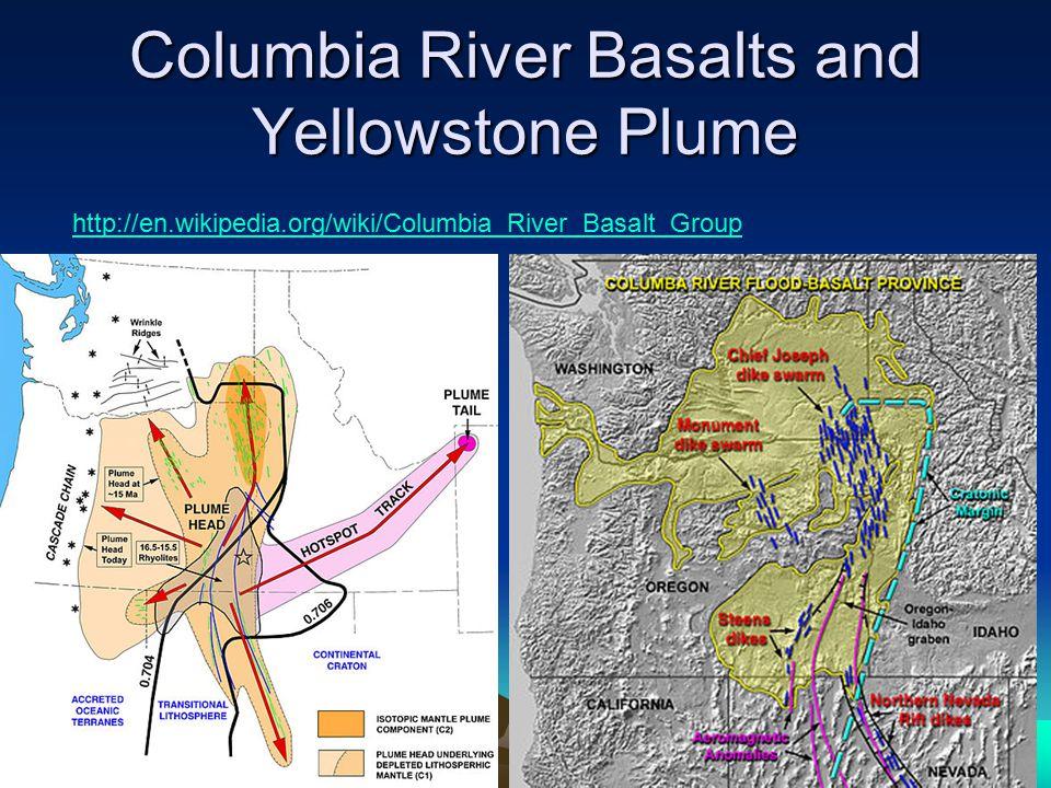 Columbia River Basalts and Yellowstone Plume http://en.wikipedia.org/wiki/Columbia_River_Basalt_Group