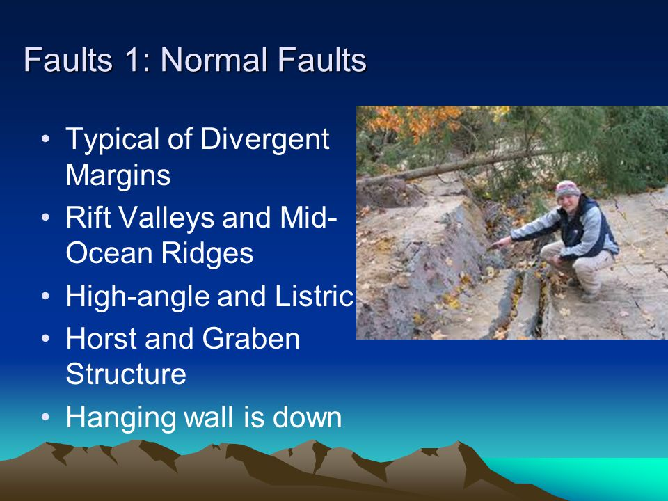 Faults 1: Normal Faults Typical of Divergent Margins Rift Valleys and Mid- Ocean Ridges High-angle and Listric Horst and Graben Structure Hanging wall is down