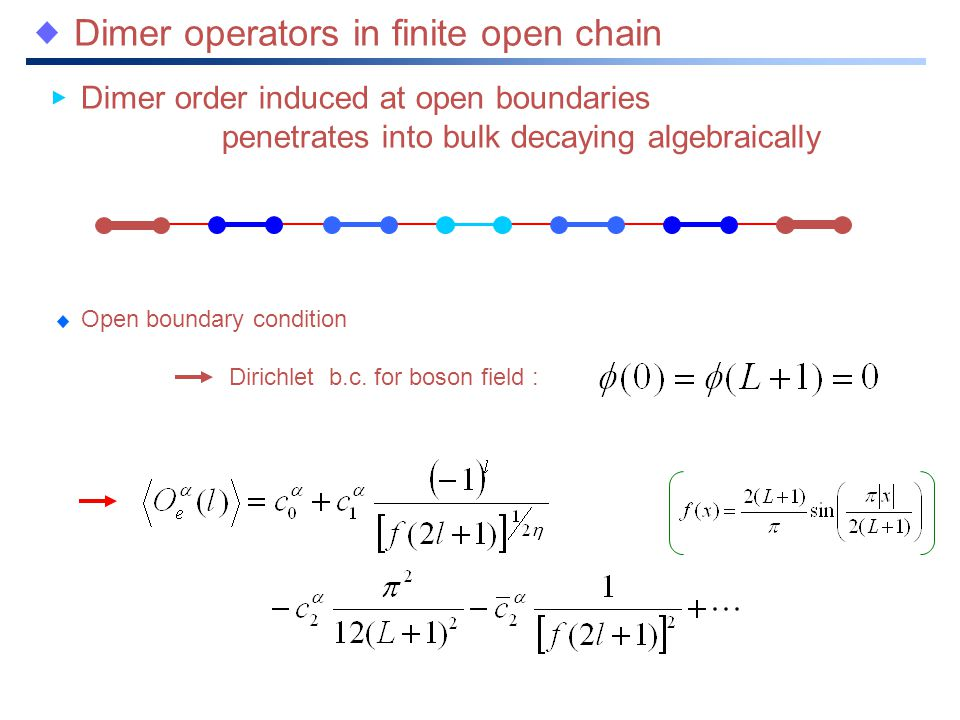 Dimer operators in finite open chain Dimer order induced at open boundaries penetrates into bulk decaying algebraically Dirichlet b.c.