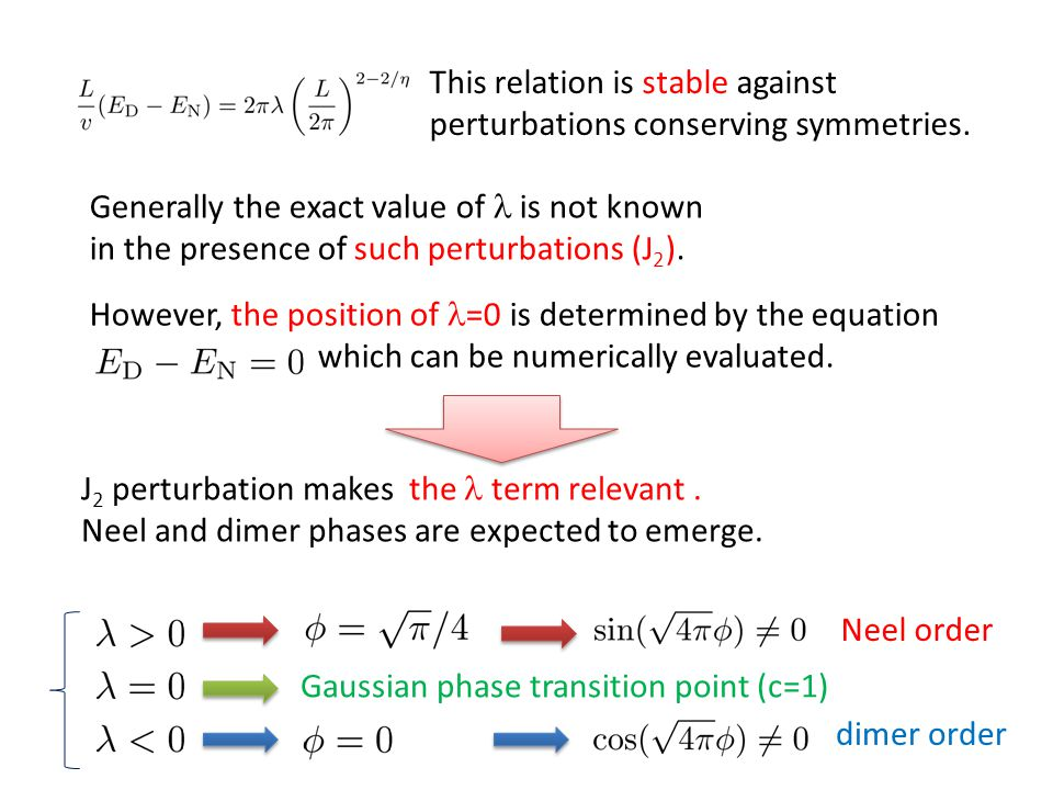 This relation is stable against perturbations conserving symmetries.