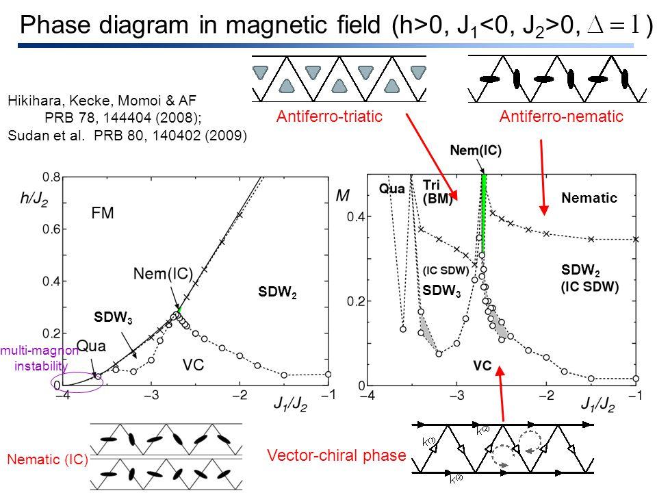 multi-magnon instability Phase diagram in magnetic field (h>0, J 1 0, ) Vector-chiral phase Antiferro-triaticAntiferro-nematic SDW 2 SDW 3 Hikihara, Kecke, Momoi & AF PRB 78, 144404 (2008); Sudan et al.