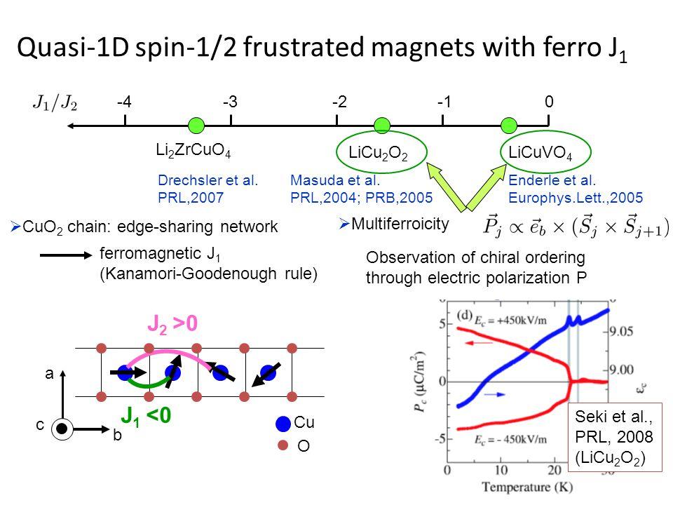 Quasi-1D spin-1/2 frustrated magnets with ferro J 1 J 1 <0 J 2 >0 Cu O b a c 0-2-3-4 LiCuVO 4 LiCu 2 O 2 Li 2 ZrCuO 4 Enderle et al.