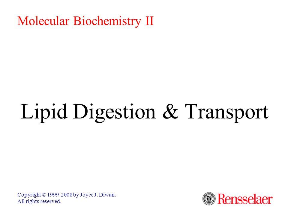 Lipid Digestion & Transport Digestion & transport of lipids poses unique problems relating to the insolubility of lipids in water.