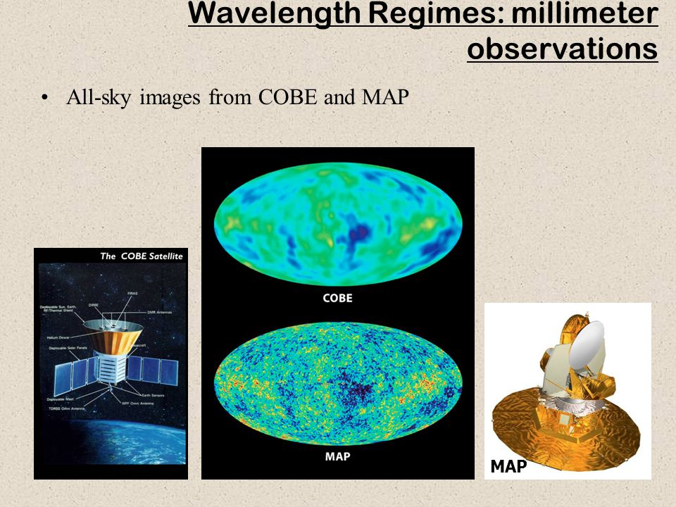 33 Wavelength Regimes: millimeter observations All-sky images from COBE and MAP MAP
