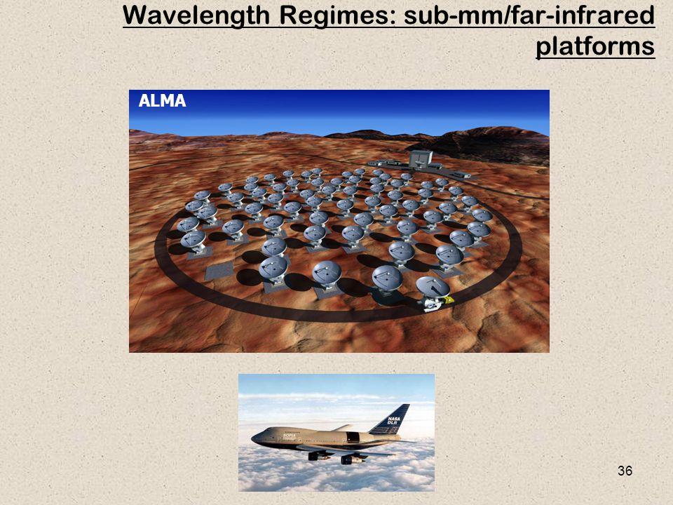 36 Wavelength Regimes: sub-mm/far-infrared platforms ALMA
