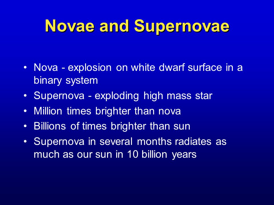 Novae and Supernovae Nova - explosion on white dwarf surface in a binary system Supernova - exploding high mass star Million times brighter than nova