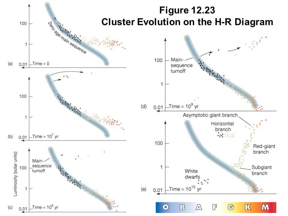 Figure 12.23 Cluster Evolution on the H-R Diagram
