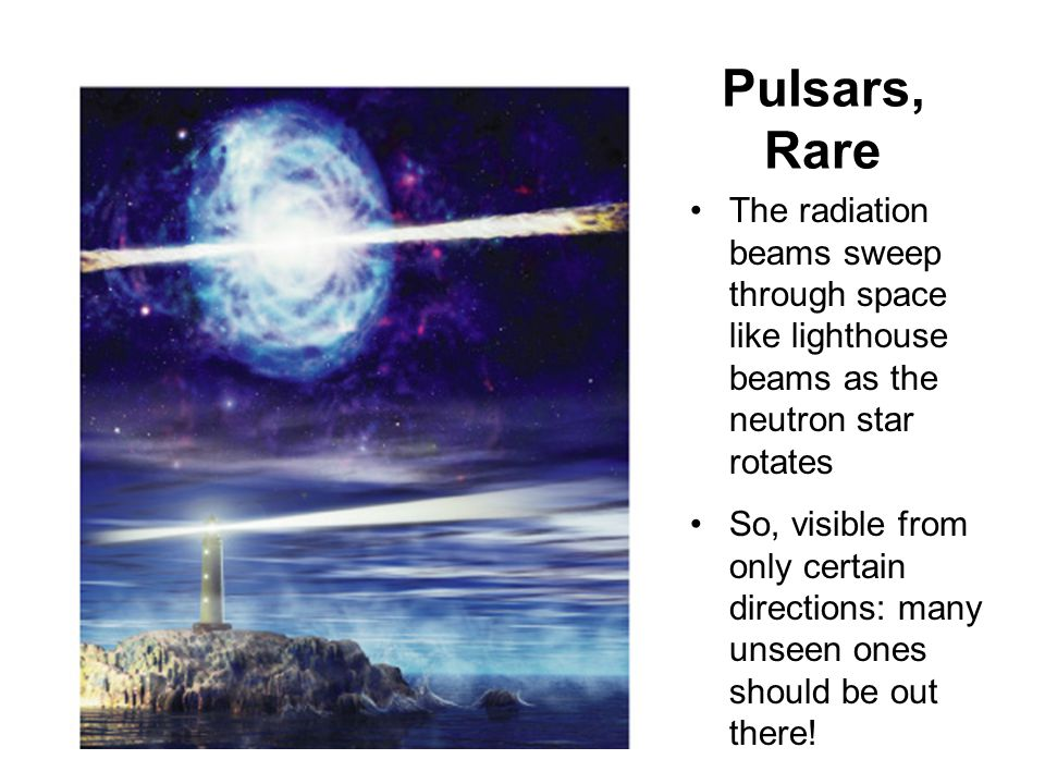 Pulsars are Beamed A pulsar is a neutron star that beams radiation along a magnetic axis that is not aligned with the rotation axis