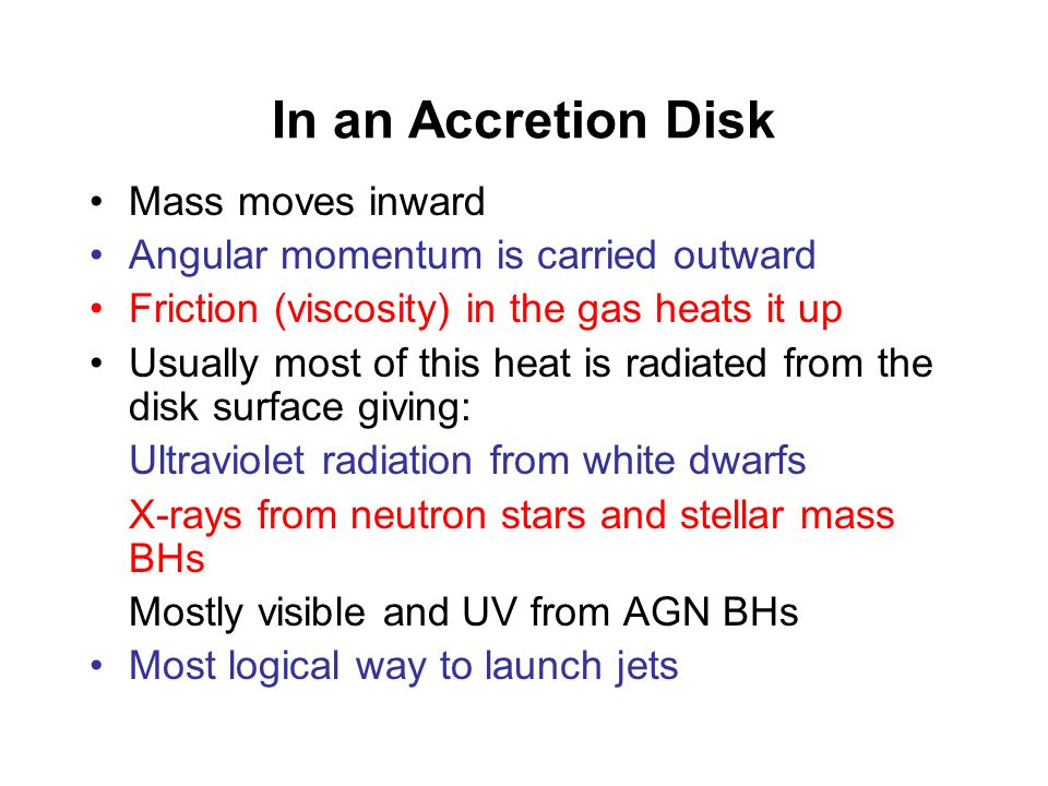 Accretion Disks Form when gas spirals down into a massive object.