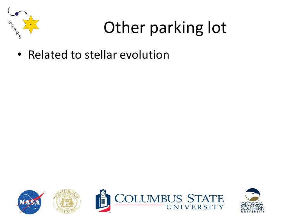 Other parking lot Related to stellar evolution