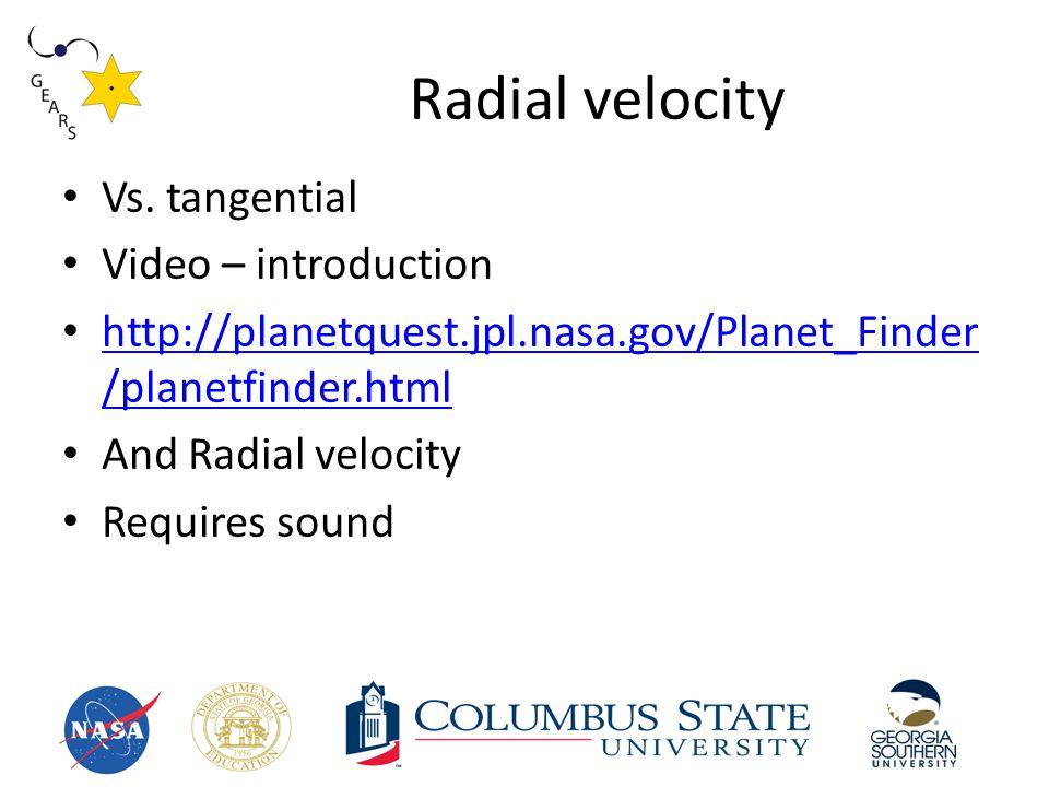 Radial velocity Vs.