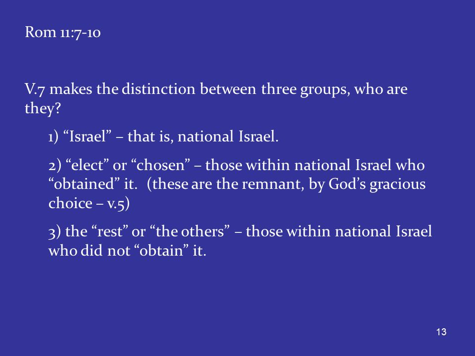 13 Rom 11:7-10 V.7 makes the distinction between three groups, who are they.