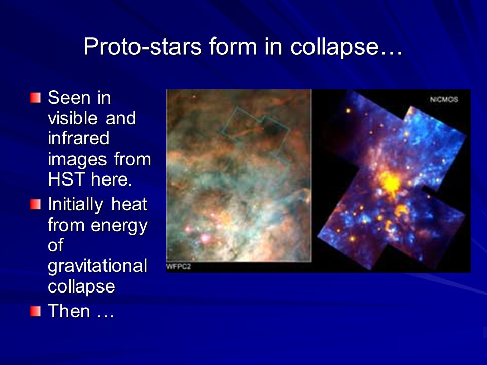 Proto-stars form in collapse… Seen in visible and infrared images from HST here. Initially heat from energy of gravitational collapse Then …