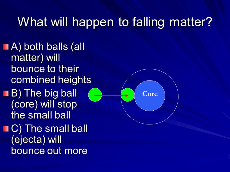 What will happen to falling matter? A) both balls (all matter) will bounce to their combined heights B) The big ball (core) will stop the small ball C