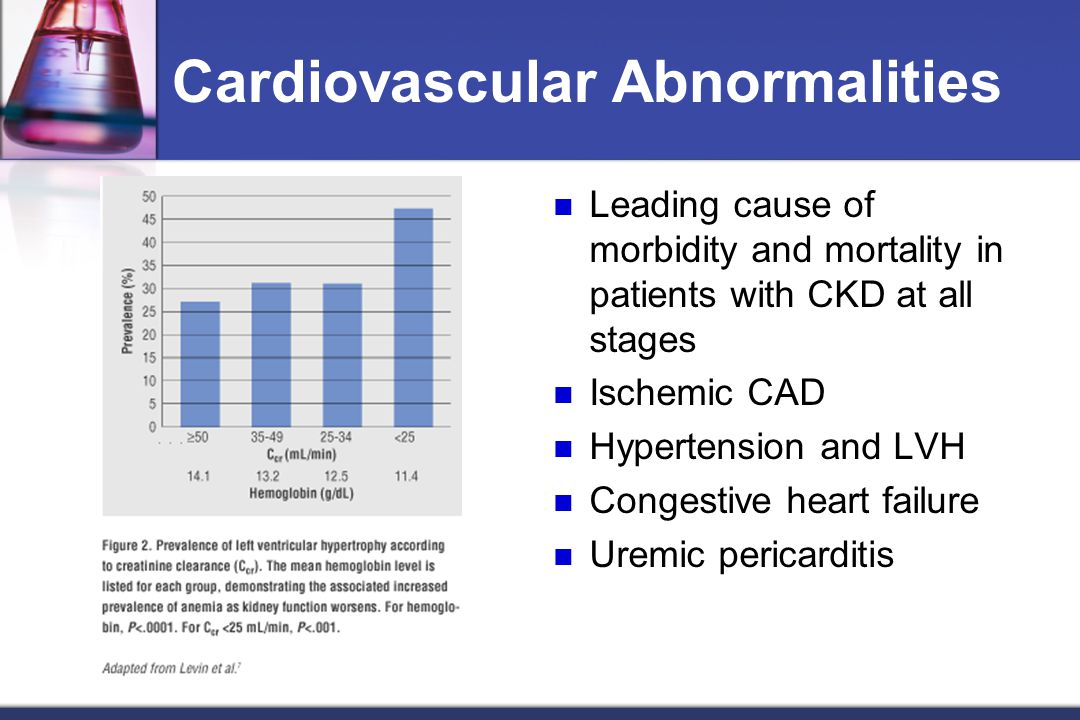 Cardiovascular Abnormalities Leading cause of morbidity and mortality in patients with CKD at all stages Ischemic CAD Hypertension and LVH Congestive