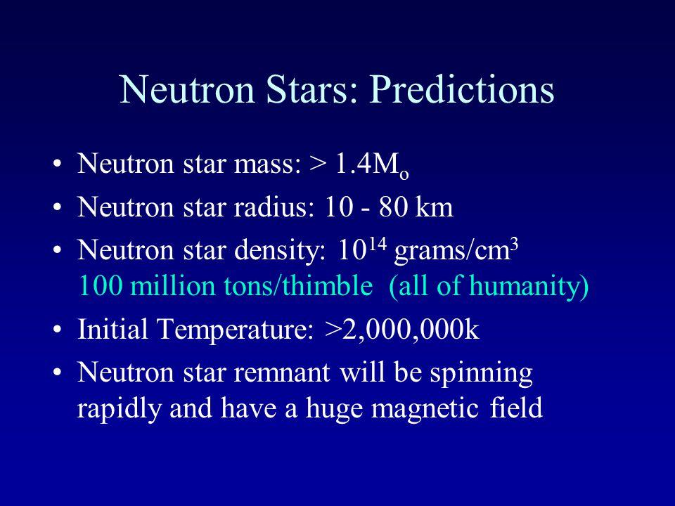 Neutron Star 10 km White dwarf 6000 km