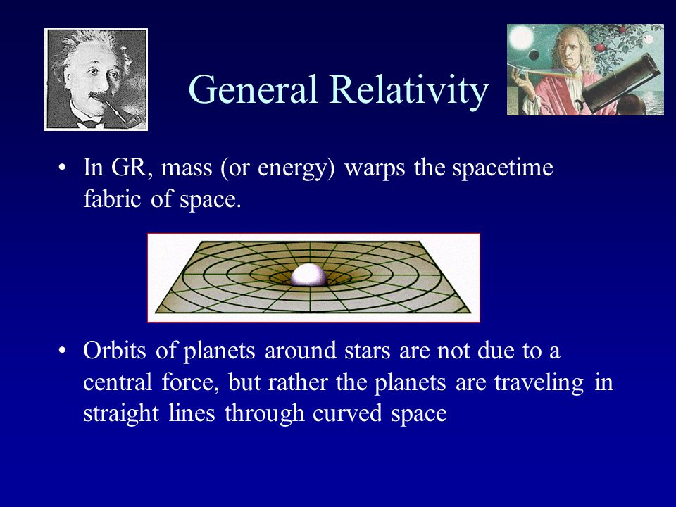 General Relativity Einstein's theory of General Relativity is a theory of gravity The basic idea is to drop Newton's idea of a mysterious force between masses and replace it with the 4-dimensional SpaceTime Continuum