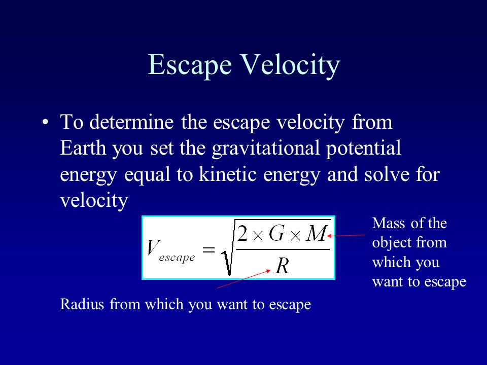 Escape Velocity Imagine feebly tossing a rocketship up in the air.