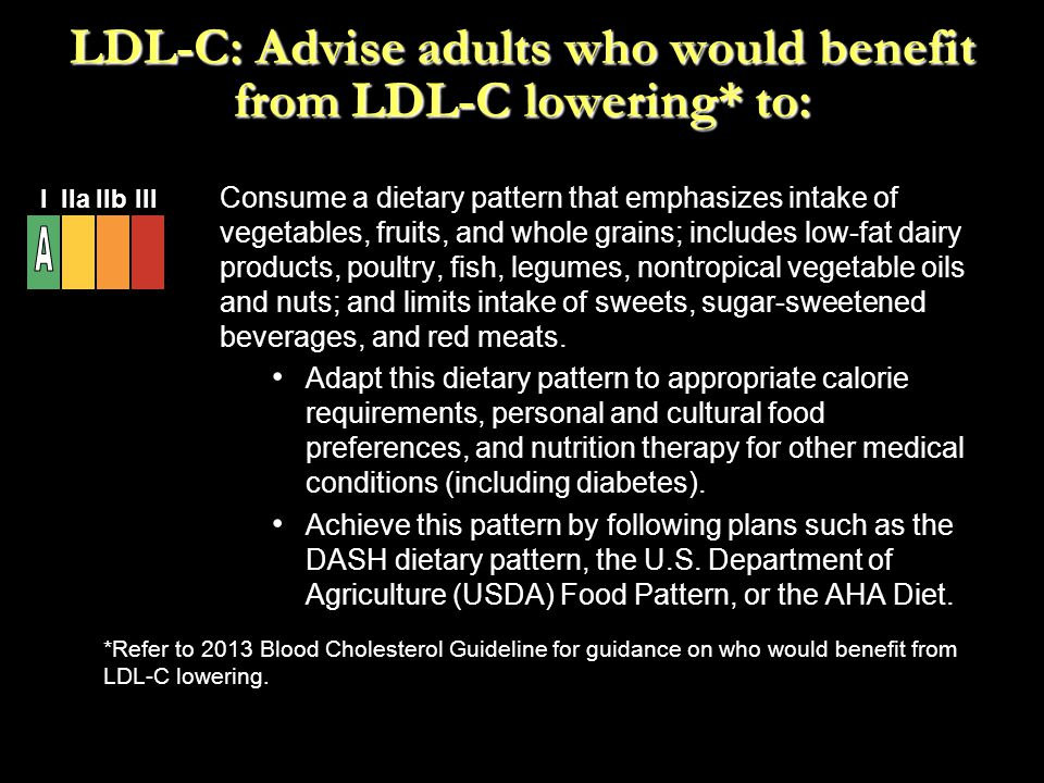 Consume a dietary pattern that emphasizes intake of vegetables, fruits, and whole grains; includes low-fat dairy products, poultry, fish, legumes, non