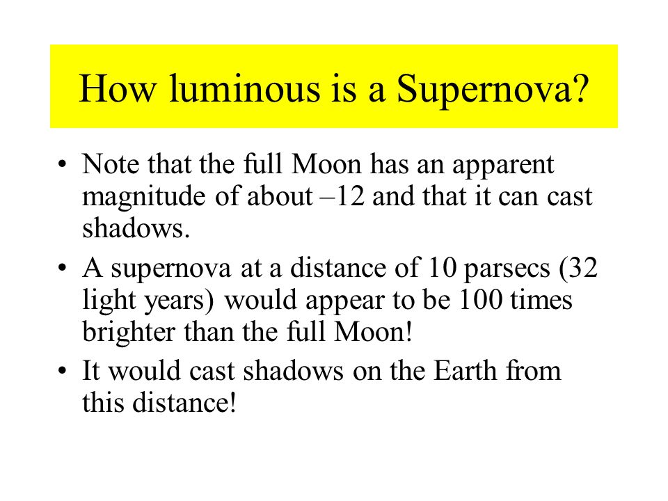 How luminous is a Supernova.