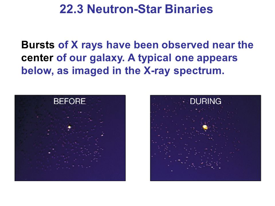 22.3 Neutron-Star Binaries Bursts of X rays have been observed near the center of our galaxy. A typical one appears below, as imaged in the X-ray spec