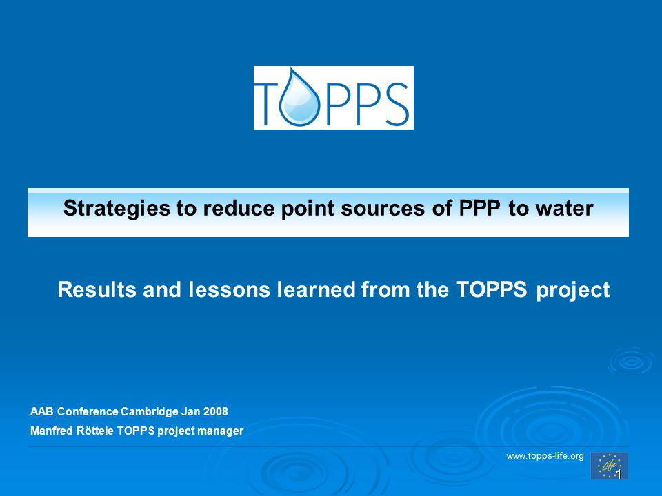 www.topps-life.org 1 AAB Conference Cambridge Jan 2008 Manfred Röttele TOPPS project manager Strategies to reduce point sources of PPP to water Result