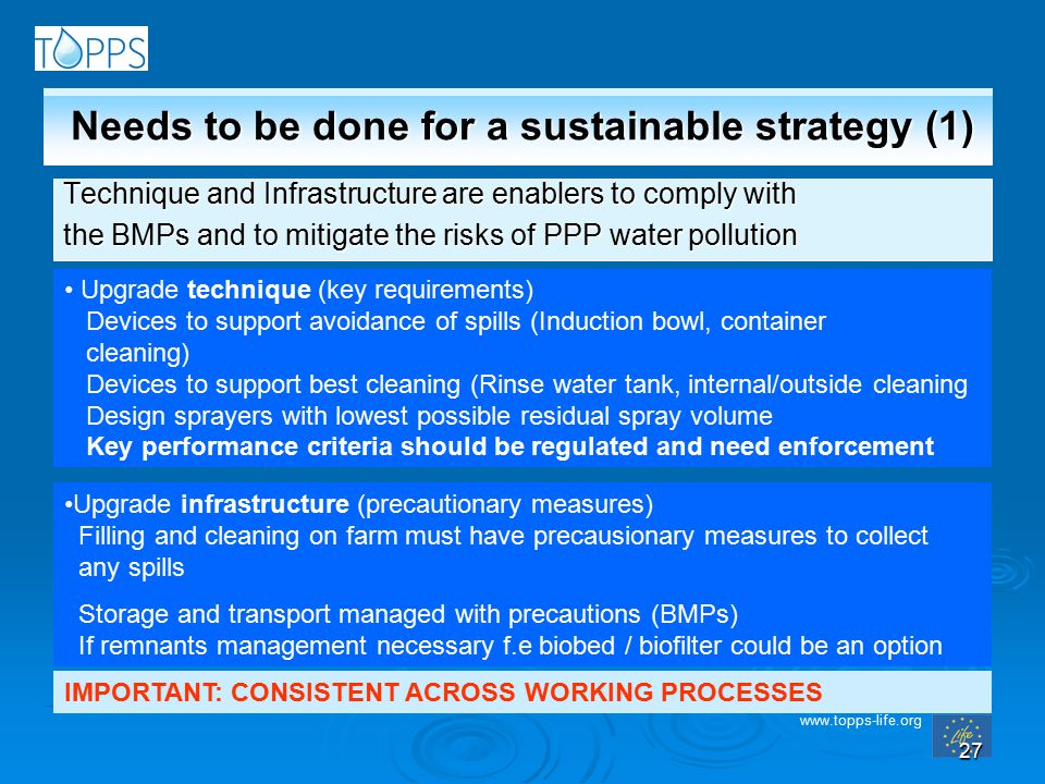 www.topps-life.org 27 Needs to be done for a sustainable strategy (1) Technique and Infrastructure are enablers to comply with the BMPs and to mitigate the risks of PPP water pollution Upgrade technique (key requirements) Devices to support avoidance of spills (Induction bowl, container cleaning) Devices to support best cleaning (Rinse water tank, internal/outside cleaning Design sprayers with lowest possible residual spray volume Key performance criteria should be regulated and need enforcement Upgrade infrastructure (precautionary measures) Filling and cleaning on farm must have precausionary measures to collect any spills Storage and transport managed with precautions (BMPs) If remnants management necessary f.e biobed / biofilter could be an option IMPORTANT: CONSISTENT ACROSS WORKING PROCESSES