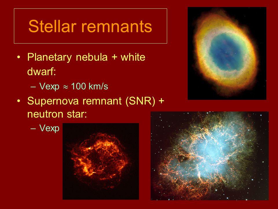 Stellar remnants Planetary nebula + white dwarf: –Vexp  100 km/s Supernova remnant (SNR) + neutron star: –Vexp > 1000 km/s