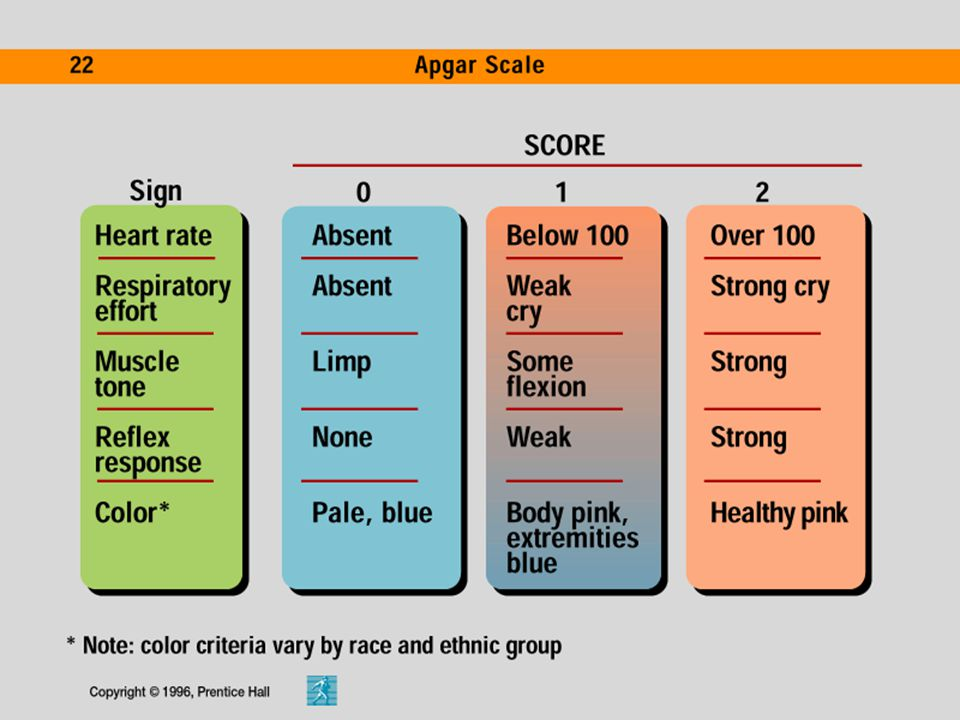 The APGAR directs attention to five qualities: a. appearance (color) b. pulse (heart rate) c. grimace (reflex irritability) d. activity (muscle tone)