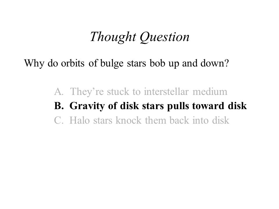 Thought Question Why do orbits of bulge stars bob up and down.