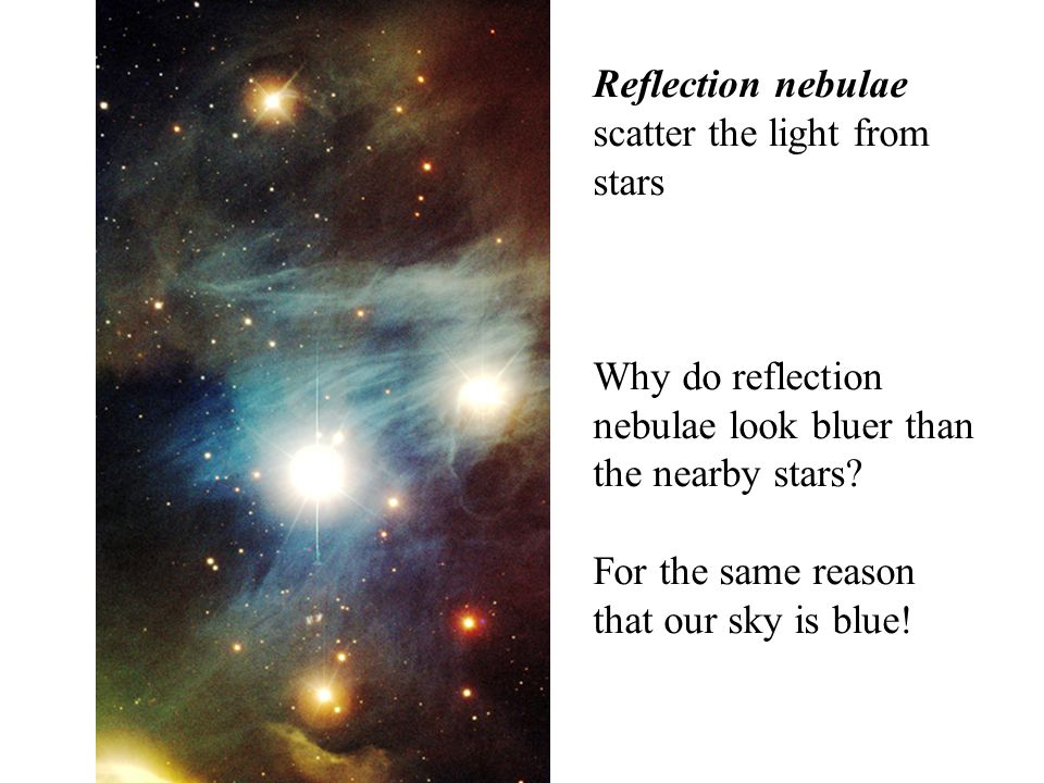 Reflection nebulae scatter the light from stars Why do reflection nebulae look bluer than the nearby stars.