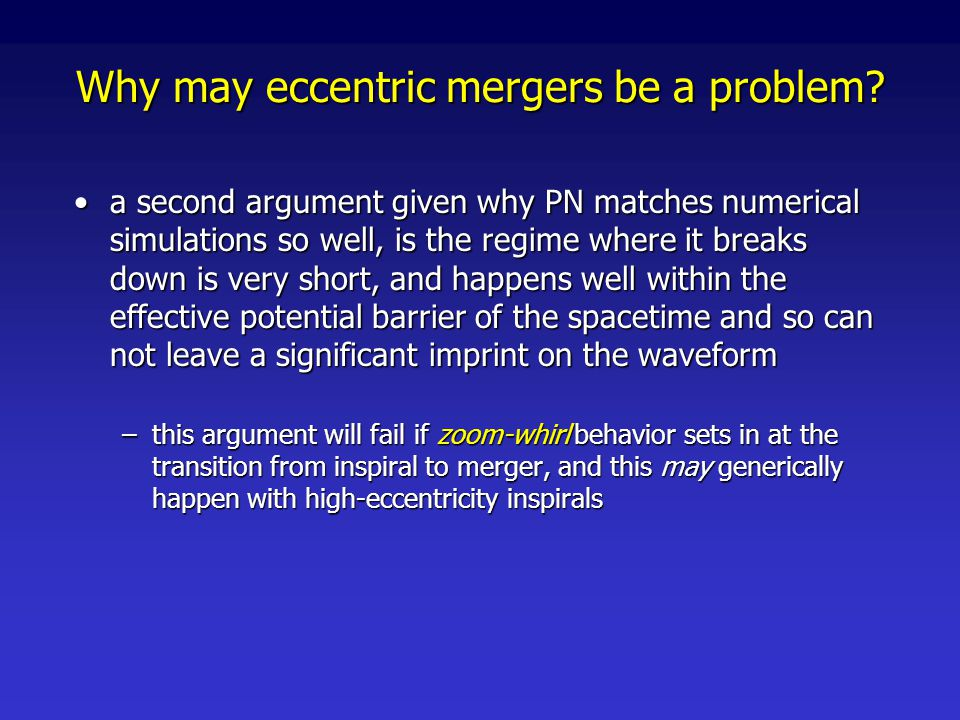 Why may eccentric mergers be a problem.