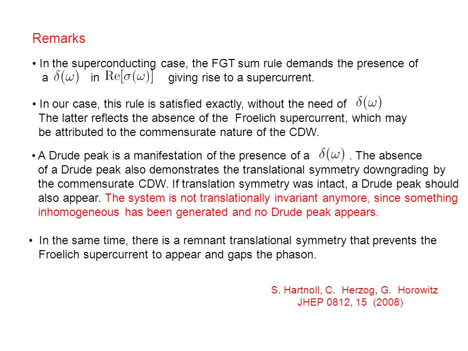 In our case, this rule is satisfied exactly, without the need of The latter reflects the absence of the Froelich supercurrent, which may be attributed to the commensurate nature of the CDW.