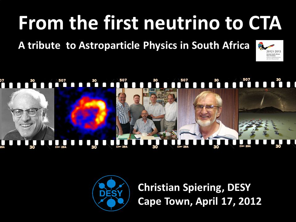 Fred Reines SN Remnant Potchefstroom Space weather C T A RX J1713.7-3946 H.E.S.S.